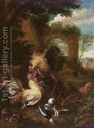 Landscape With Bantam Cockerels Fighting, Together With Guinea Pigs And Doves by Adriaen de Gryef - Reproduction Oil Painting