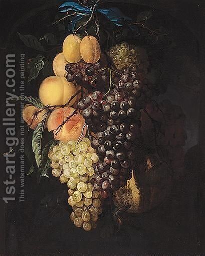 A Garland Of Grapes, Peaches, Apricots And A Honey Melon, Suspended From A Nail, Tied With A Blue Ribbon, Set Within A Feigned Stone Niche by (after) Willem Van Aelst - Reproduction Oil Painting