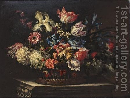 Still Life Of Tulips, Irises And Other Flowers In A Basket On A Stone Ledge by (after) Bartolome Perez - Reproduction Oil Painting