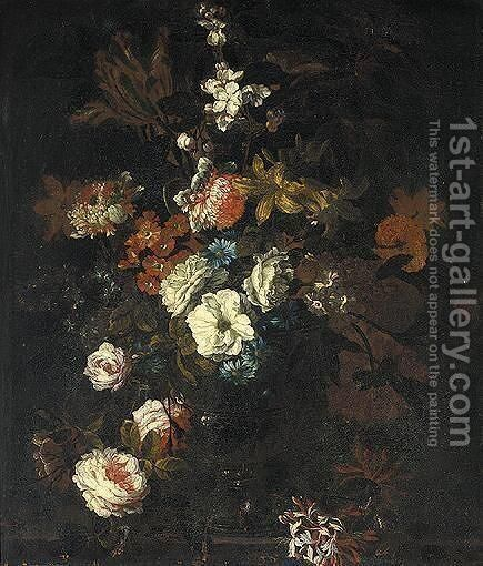 Still Life Of Various Flowers In A Glass Vase Upon A Stone Ledge by (after) Jean-Baptiste Monnoyer - Reproduction Oil Painting