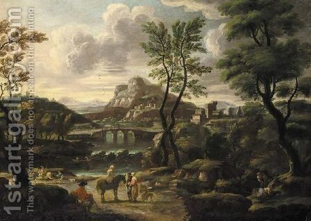 An Italianate Landscape, With Figures Resting Before A River, A Town Beyond by Jan de Momper - Reproduction Oil Painting
