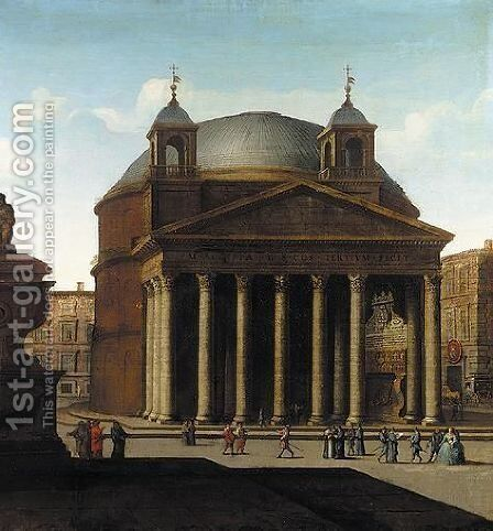 Rome A View Of The Pantheon by (after) Viviano Codazzi - Reproduction Oil Painting