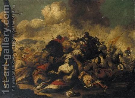 A Cavalry Battle Scene by (after) Antonio Calza - Reproduction Oil Painting