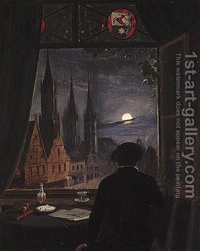 An Artist In His Studio Contemplating A Moonlit Street From His Opened Window by (after) Friedrich, Caspar David - Reproduction Oil Painting