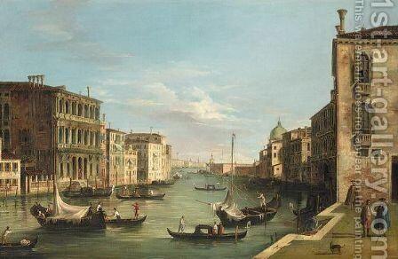Venice, A View Of The Grand Canal Looking East, From The Campo Di San Vito by (after)  (Giovanni Antonio Canal) Canaletto - Reproduction Oil Painting
