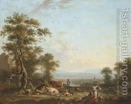 A Pastoral Landscape by (after) Jean-Baptiste-Charles Claudot, Called Clau Nancy - Reproduction Oil Painting