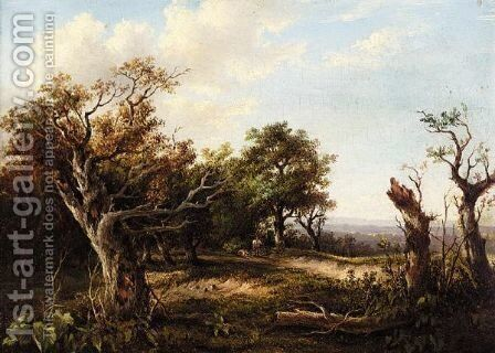 Wooded Landscape With Rustics by Charlotte Nasmyth - Reproduction Oil Painting