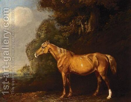 A Liver Chestnut Hunter In A Landscape by (after) James Ward - Reproduction Oil Painting