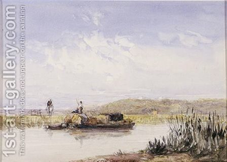 A Barge On A Canal by David Cox - Reproduction Oil Painting