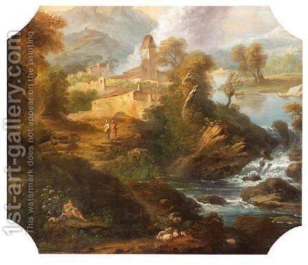 Paysage by Francois Lemoine (see Lemoyne) - Reproduction Oil Painting