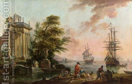 Vue D'Un Port Mediterraneen by Jean-Baptiste Lallemand - Reproduction Oil Painting