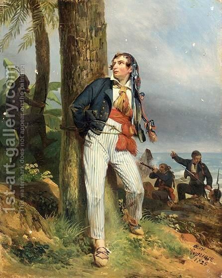 Soldats Abordant Une Ile Defendue Par Des Indigenes by Auguste-Xavier Leprince - Reproduction Oil Painting