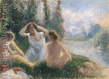 Baigneuses Assises Au Bord D'une Riviere by Camille Pissarro - Reproduction Oil Painting
