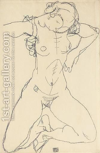 Frauenakt (Female Nude) by Egon Schiele - Reproduction Oil Painting