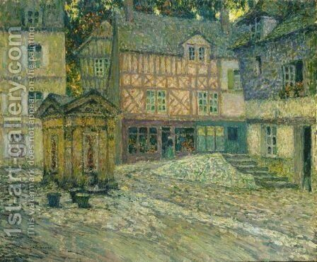 La Place Du Puits, Honfleur by Henri Eugene Augustin Le Sidaner - Reproduction Oil Painting