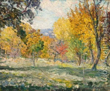 Paysage Aux Arbres by Henri Lebasque - Reproduction Oil Painting