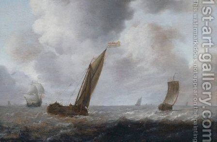 Fishing Boats And Other Vessels Offshore In A Choppy Sea by Simon De Vlieger - Reproduction Oil Painting