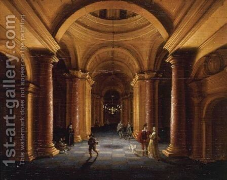 Figures In A Domed Interior by Jan van Vucht - Reproduction Oil Painting