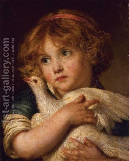 A Young Girl Holding A Dove by (after) Greuze, Jean Baptiste - Reproduction Oil Painting