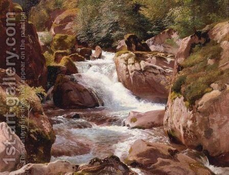 A View Of Waterfalls by Johann Gottfried Steffan - Reproduction Oil Painting
