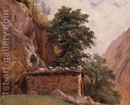 View Of Pestarena, Near Zermatt by Alexandre Calame - Reproduction Oil Painting