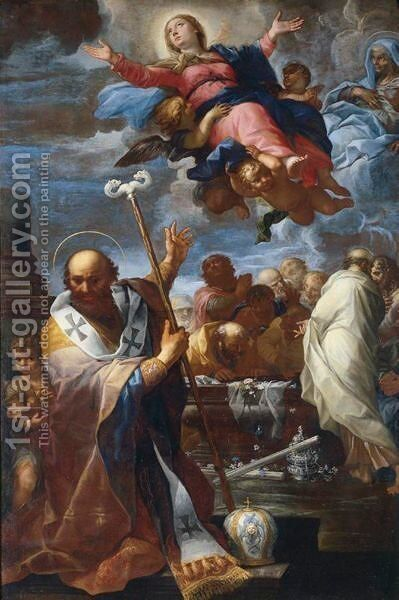 The Assumption Of The Virgin With Saints Nicholas Of Myra And Anne by Giovanni Battista Lenardi - Reproduction Oil Painting