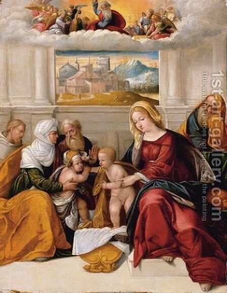 Holy Family by (after) Benvenuto Tisi - Reproduction Oil Painting