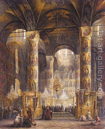 The Interior Of The Uspensky Cathedral, Moscow by Alexander Khristoforovich Kolb - Reproduction Oil Painting