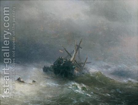 Lowering The Boats by Ivan Konstantinovich Aivazovsky - Reproduction Oil Painting
