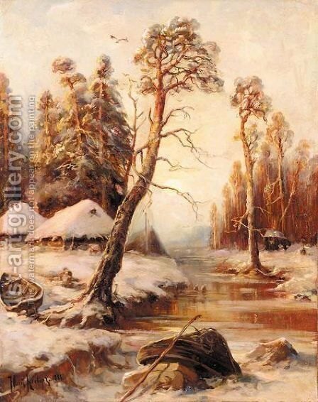 Frozen River by Iulii Iul'evich (Julius) Klever - Reproduction Oil Painting