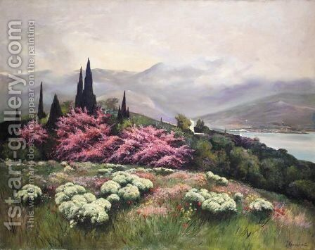 View Of Yalta by Iosef Evstafevich Krachkovsky - Reproduction Oil Painting