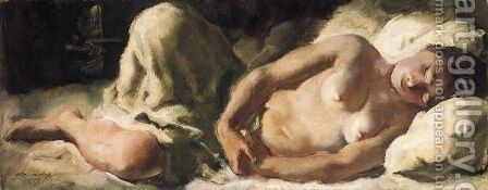 Sleeping Nude by Alexander Evgenievich Yakovlev - Reproduction Oil Painting