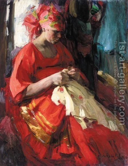 Russian Beauty At Her Embroidery by Abram Efimovich Arkhipov - Reproduction Oil Painting