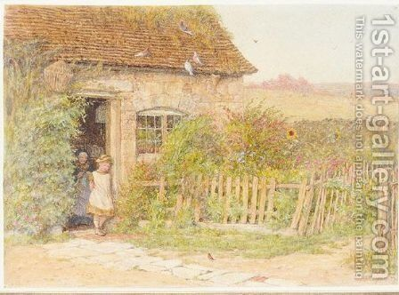The Robin's Song by Helen Mary Elizabeth Allingham, R.W.S. - Reproduction Oil Painting