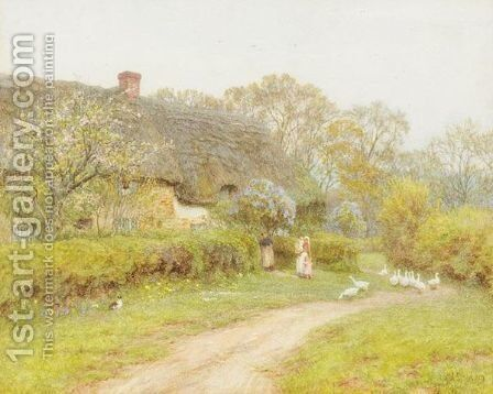 Spring Time At Lower Denhay, Bridport by Helen Mary Elizabeth Allingham, R.W.S. - Reproduction Oil Painting