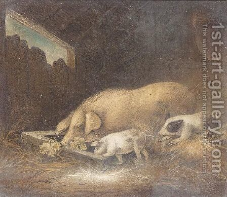 Inside The Pig Sty by Benjamin Zobel - Reproduction Oil Painting