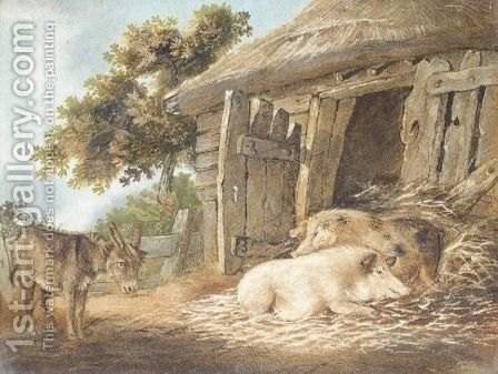 Donkey And Pigs by Benjamin Zobel - Reproduction Oil Painting