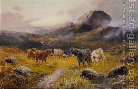 Highland Cattle In A Mountainous Landscape by Charles W. Oswald - Reproduction Oil Painting