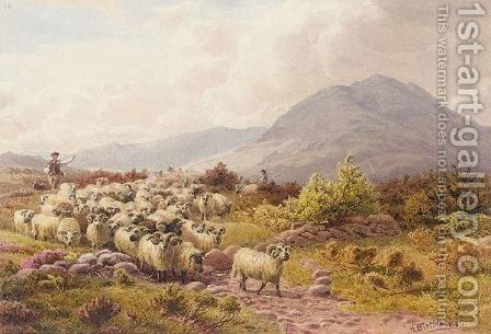 Shepherds Driving Sheep On A Path In The Hills by Henry Birtles - Reproduction Oil Painting