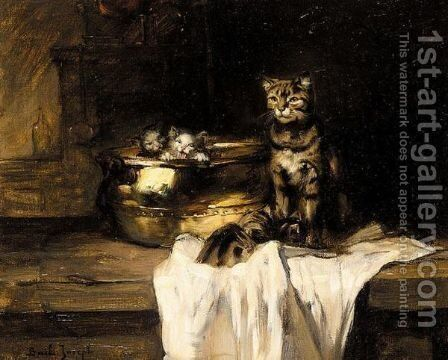 Mother And Kittens In A Pot by Claude Joseph Bail - Reproduction Oil Painting