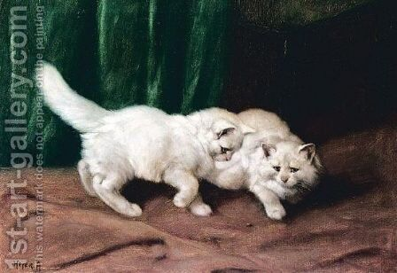 Two White Kittens by Arthur Heyer - Reproduction Oil Painting