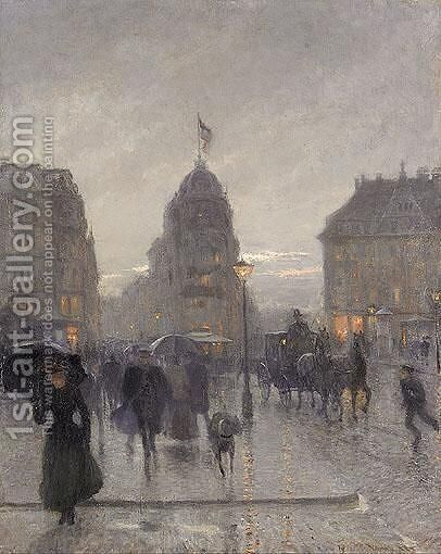 Karlplatz, Munich by (after) Charles Vetter - Reproduction Oil Painting