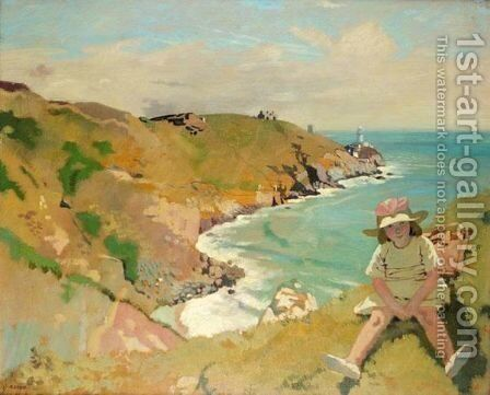 The Edge Of The Cliff, Howth by Sir William Newenham Montague Orpen - Reproduction Oil Painting