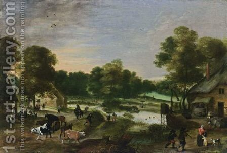 A Village Scene In A Landscape Setting With A Shepherd And His Flock In The Foreground, Together With Anglers And A Small River With Boats Nearby by Antwerp School - Reproduction Oil Painting