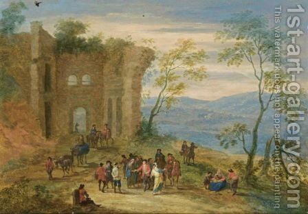A Wooded Landscape With Gypsies, Horsemen And Travellers Conversing And Resting Near Ruins by Mathys Schoevaerdts - Reproduction Oil Painting