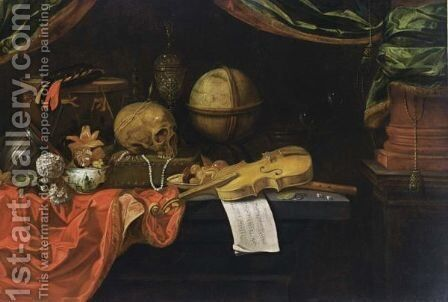 A Vanitas Still Life With Musical Instruments And Score, A Globe, A Skull, A Transitional Bowl With Flowers, Snowballs, Jewellery, A Silver-Gilt Cup And Cover, Bubbles, Money And Dice, All On A Table Draped With Red Cloth by Dutch School - Reproduction Oil Painting