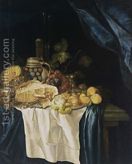 A Still Life With A Ham On A Silver Plate by Gregorius De Coninck - Reproduction Oil Painting