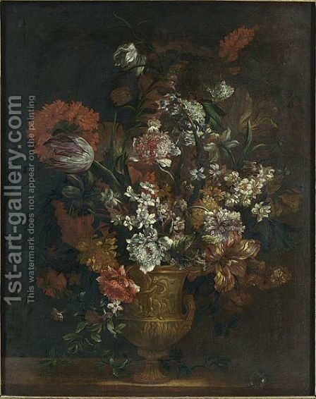A Still Life With Tulips, Carnations, Poppy Anemones, Hyacinths, And Other Flowers In A Copper Vase On A Ledge by (after) Jean-Baptiste Monnoyer - Reproduction Oil Painting