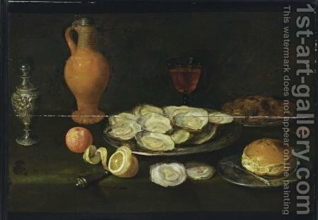 A Still Life With Oysters, Chestnuts, And A Roll Together With A Fork, All On Pewter Plates, A Half Peeled Lemon, A Bitter Orange, A Glass Of Wine, An Earthenware Jug With A Pewter Lid And Silver Pepperbox, All On A Table Draped With A Green Cloth by (after) Jacob Foppens Van Es - Reproduction Oil Painting