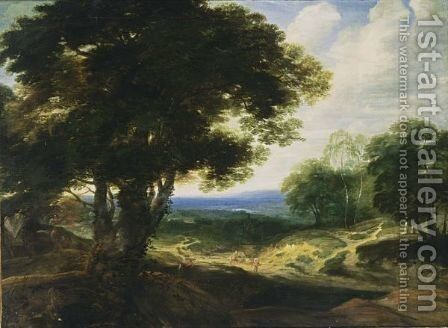 An Extensive Wooded Landscape With Travellers Resting On A Path And A Horse- Drawn Cart On The Left by (after) Jaques D'Arthois - Reproduction Oil Painting